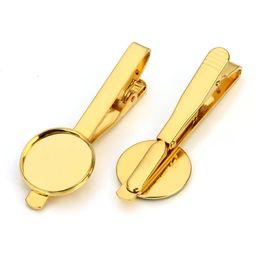 Wholesale Clip Jewelry Parts Wholesale - Tie clip brass jewelry accessories part blank stickpin 16 mm bezel-set round golden