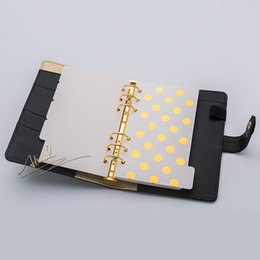 projetos bonitos dos diários Desconto Wholesale- Abook freeshipping 2017 new notebook planner stationery Gold inside page 5pcs set A5 A6 dividers plate filler papers planner