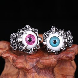 Wholesale Turquoise Skull Ring - Domineering Titanium Steel Retro Punk Single Devil's Eye Ring titanium Skull Ring Personalized Boys Single Ring