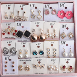 Wholesale Costume Jewellery Wholesalers - Rose Gold Earrings Fashion Women Lady Costume Jewellery Ear Studs Mix Styles Fashion Pearls Crystal Rhinestone Earrings