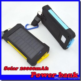 Wholesale Universal Usb Battery - 20000mAh universal 2 USB Port Solar Power Bank Charger External Backup Battery With Retail Box For iPhone Samsung cellpPhone charger