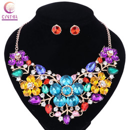 Wholesale Tibet Silver Flower Bracelet - Women Fashion Statement Necklace earrings sets Bridal Wedding Party Necklace Flower Type Golden Plated Crystal Jewelry Sets