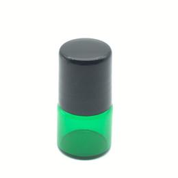 Wholesale Green Glass Roll Bottles - Free Shipping 1ml Metal Roller Green Glass Bottle Roller on Mini Perfume Sample Empty Bottle Essential Oil Bottle