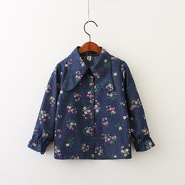 Wholesale Wholesale Denim Floral Shirt - Everweekend Girls Denim Floral Leaves Printed Shirt Vintage Korea Autumn Spring Children Tops Cute Fashion Baby Blouse