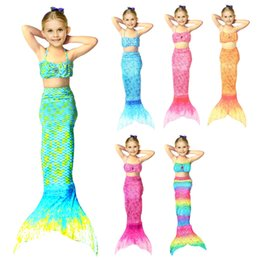 Wholesale Swimming Costume Girl - Girls bathing suit Mermaid Bikini 3PCS SET Girls Kids Mermaid Tail Swimmable Bikini Set Swimwear Swimsuit Swimming Costumes