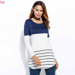 Wholesale Ladies Striped Shirts - Hot Korean Autumn Women T-Shirt Patchwdork Slim Fit Striped Tshirt Long Sleeve Tops O Neck Ladies Clothing Contrast Long T-shirts SVH031649