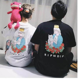 Wholesale Ladies Rose Shirt - 2017 Ripndip T-shirt Men's Ladies 1: 1 High-quality cotton O-type short-sleeved fashion skateboard refers to the cat of the Virgin Mary rose