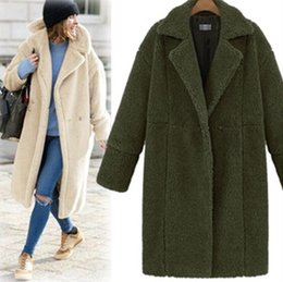 Wholesale Wollen Coats - 2017 New Long Solid Winter Wollen Coat Women Brand Fashion wool Coats Plus size in stock