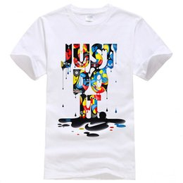 Wholesale Sports Casual Wear - New Fashion T-shirt Brand Clothing Just Do It Letter Print Men T Shirt Summer Sport Top Tees Street wear Anime Male Tshirt