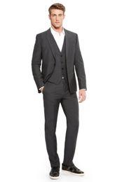 Wholesale Men Evening Suit Pants - Wholesale- New Arrival Groom Tuxedo Groomsmen Charcoal Gray Wedding Dinner Evening Suits Best Man Bridegroom (Jacket+Pants+Tie+Vest) B42