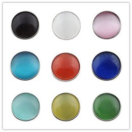 Wholesale Cameo Silver Jewelry - 10pcs lot 18mm Snaps Jewelry Cameo Multicolor Mixed Cats Eyes Stone Snap Buttons For Ginger Button Snap Jewelry ZJ1453