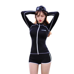 Wholesale Swimwear Tankinis - 2017 women long sleeve rash guard lady sexy bathing suit sun-protective beachwear wetsuit female one pieces swimsuit swimwear free shipping
