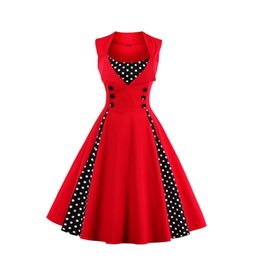 Wholesale Polka Dots Tunic - Wholesale- New 2017 Summer Women Dress Retro 1950s 60s Dress Polka Dots Pinup Rockabilly Sexy Party Dresses Vintage Tunic Vestidos Mujer