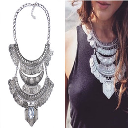 Wholesale Chunky Costume Jewelry - Wholesale- Fashion Necklace Pendant Women 2016Choker Jewelry Collare Crystal Collier Femme Punk Costume Big Vintage Chunky Coin Bohemian