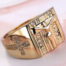 Wholesale Simple Cross Rings - Fashion simple men and women white zircon ring Classic cross Jesus Ring Gold Plated Jewelry