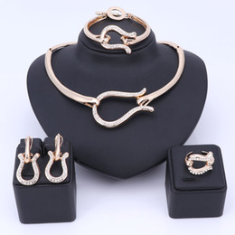 Wholesale Dubai Accessories - Gold Color Bridal Jewelry Sets For Wedding Rhinestone Choker Necklaces Earrings Ring Bracelet Dubai Jewelry Accessories Gift