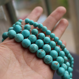 Wholesale Loose Stones String - 6mm 8mm 10mm Natural Blue Turquoise Beads Round Loose beads 1 string about 40cm wholesale