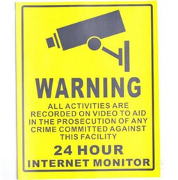 Wholesale Security Signs Warning - Home CCTV Surveillance Security Camera Sticker Warning Decal Signs Yellow
