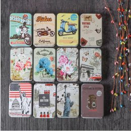 Wholesale Tin House Storage Box - Vintage Tin Box Candy Pill Chutty Mini Storage House Decoration Collectables Display for beads business card candy herbs Case gift box