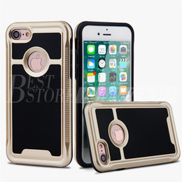 Wholesale Tpu Pc Bumpers - V-ERUS Brush Case for Iphone 6 6S 7 Plus Samsung Note 5 Hybrid 2 In 1 Soft TPU PC Bumper Cases OPP Package