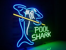 Wholesale neon sign game - Neon Light Sign Home Beer Bar Pub Pool Shark Billiards Real Glass Recreation Room Game Room Windows Garage Wall Sign H106