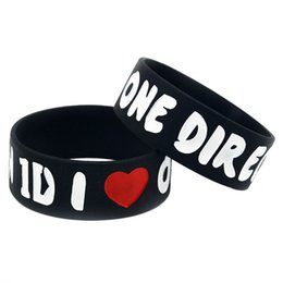 Wholesale One Direction Wristbands Black - Hot Sell 1PC I Love One Direction Silicone Wristband For Music Fans Gift Ink Filled Logo Adult Size