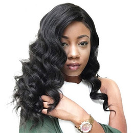 brazilian body wave hair ponytail Promo Codes - Natural Color Body Wave Indian Non Remy Human Hair Full Lace Wigs For Black Women With Baby Hair High Ponytail 130-180 Density