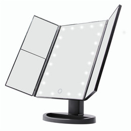 Wholesale Crystal Makeup Mirror - Make Up LED Mirror Cosmetic Folding Mirror with Stand Base 180 Degree Rotation Touch Screen Makeup Mirror