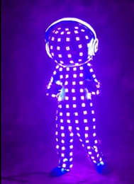 Wholesale Mascot Led - OISK colorful Led doll stage clothes luminous mascot costume robot suits led clothing light suits dance performance Remote control