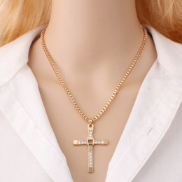 Wholesale Wholesale Fast Furious - Hottest Fashion Style Fast & Furious Toledo Gold Silver Cross Pendant Necklace Studded with Rhinestones Jewelry Gift