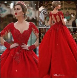 Wholesale Celebrity Wedding Ball Gowns - 2017 Custom Make Long Sleeves Wedding Dresses Plunging V-neck Lace Appliqued Red Puffy Long Arabic Dubai Formal Party Wear Gowns Celebrity