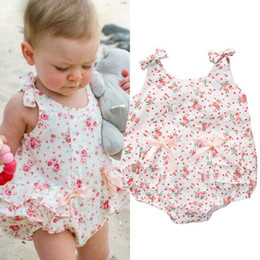 Wholesale Spandex Leotard Kids - Newborn Baby Girls Clothes Toddlers Romoper Dress Designer Kids Suit Infant Summer Outfit Bubble Onesies Floral Porn Leotards