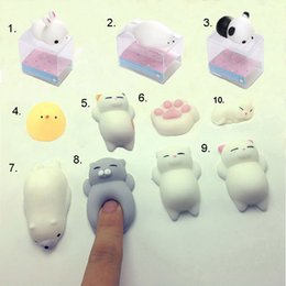 Wholesale Cartoon Silicone Iphone - Stress Reliever Toy Lovely Cartoon 3D Soft Q Elastic Squishy Cat Panda Seal Chick Silicone For Cellphone Case with Retail Package