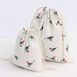 Wholesale Girls Dress Patterns Free - Drawstring Hand Bags For Girls Cotton Canvas Drawstring Sacks Shopping Popualr Animal Bird Pattern Printing Bag New 2017 Hot Free Shipping
