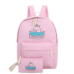 Wholesale Cute Bags For Girls Travel - Wholesale- women canvas backpack fashion cute travel bags printing backpacks 2pcs set new style laptop backpack for teenage girls MI6544