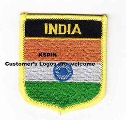 Wholesale National India - India Islands Shield Shape Flag patches embroidered flag patches national flag patches Free Shipping 0002