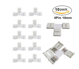 Wholesale Led Strip T Connector - 10pcs Pack T Shape Solderless Snap Down 4Conductor LED Strip Connector for Quick Splitter Connection of 10mm Wide 5050 RGB Flex LED Strips