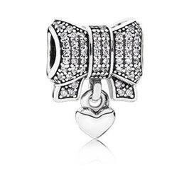 Wholesale Pandora Bow - Factory Price 925 Sterling Silver Beads Heart and Bow Charm Fit Pandora Charms Bracelet DIY European christmas
