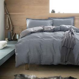 Wholesale Grey Bedding Set Duvet Cover - Wholesale-Bedding set 4pcs for queen size grey stripe bedsheet pillowcase duvet cover set bedlinen quilt set 100%cotton bedclothes cover