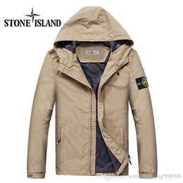 Wholesale Men S Hats Fashion - Fast shipping 2017 new island stone autumn mens jacket bomber jacket and coat land is stone blue jacket with hat &222