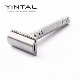 Latón Yintal 1 maquinilla de afeitar de seguridad de plata mate clásico de la maquinilla de afeitar para el afeitado de los hombres de cobre de calidad palanca manual de doble filo de la navaja desde fabricantes