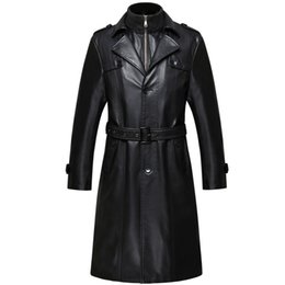 Wholesale Color Long Leather Gloves - S-4XL Long Mens Business Real Leather Fleece Liner Warm Winter Lapel Jackets Windbreaker Trench Coat Parkas Thicken&leather Gloves ZJX3884