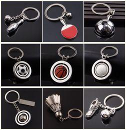 Wholesale Mini Golf - DHL Free Mini Rotatable Basketball Football Golf keychain keyrings key rings metal bag hangs soccer fans fashion jewelry Christams Gift