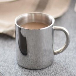 Wholesale Tea Cup Portable - HOT 200ML Double-layer Stainless Steel Coffee Cups Portable Eco-friendly Non-toxic Tea Drinking Mug for Home Restaurant Cafe