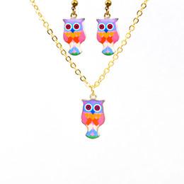 Wholesale Owl Earrings Enamel - European Jewelry Sets For Women Colorful Enamel Cute Cartoon Owl Pendant Necklace Earrings Sets Vintage Animal Jewelry