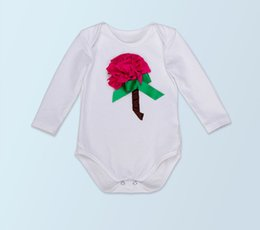 Wholesale Kids Coveralls Wholesale - Fashion Rose Flower Girl Kids Bodysuits Lovely Infant Coveralls Toddler Cotton Heart Print Baby Jumpsuit For Valentine's Day Newborn Clothes