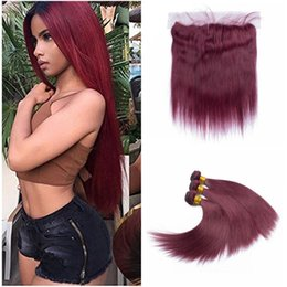 Wholesale Red Burgundy Hair - Brazilian Burgundy Hair With Lace Frontal Closure 13x4 inch Silk Straight #99J Wine Red Human Hair Bundles With Ear to Ear Full Frontals