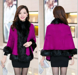 Wholesale Woman Wool Collar Coat - New Autumn Winter Women High Quality Fake Fox Fur Collar Wool Cashmere Poncho Capes Knitted Cardigan Sweater Coat