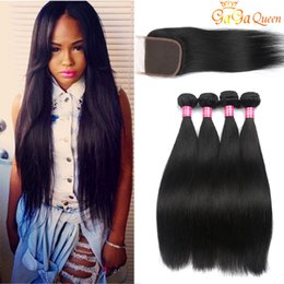 Wholesale Virgin Peruvian Closure Straight - Brazilian Straight Hair Bundles With 4x4 Closure Unprocessed Brazilian virgin Hair Straight With Lace Closure Cheap Human Hair Extensions