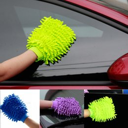 Wholesale Microfiber Towel Thick - Car Hand Soft Cleaning Towel Microfiber Chenille Washing Gloves Coral Fleece Anthozoan Car Sponge Wash Cloth Car Care Cleaning XL-G109